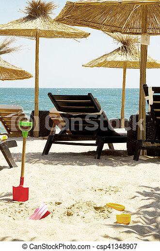 Sun loungers on the beach, black sea - csp41348907
