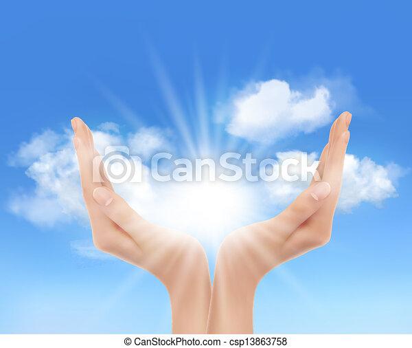 Manos con un sol brillante. Vector. - csp13863758