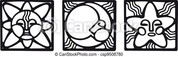 Sun, moon and star symbols in pagan style - csp9508780