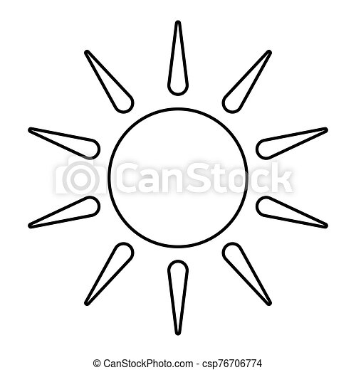 Sun outline isolated on white background . Line icon design element. Sunny Weather Element .Symbol for your web site design, app, UI. Vector illustration, EPS - csp76706774