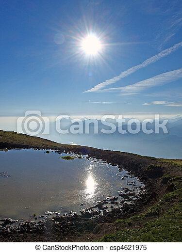 Sun reflection on the mountain pool - csp4621975