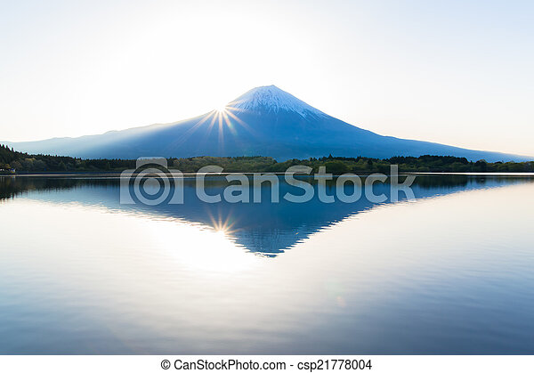 Sun shine and inverted Mount Fuji - csp21778004