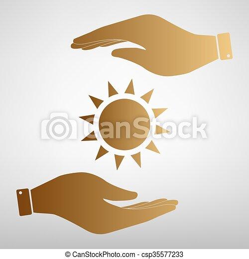 Sun sign Golden Effect. - csp35577233