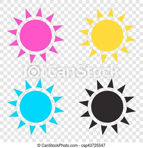 Sun Sign Illustration Cmyk Icons On Transparent Background Cyan Magenta Yellow Key Black