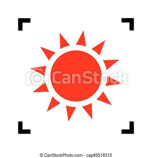 Sun sign illustration. Vector. Red icon inside black focus corners on white background. Isolated. - csp45518310