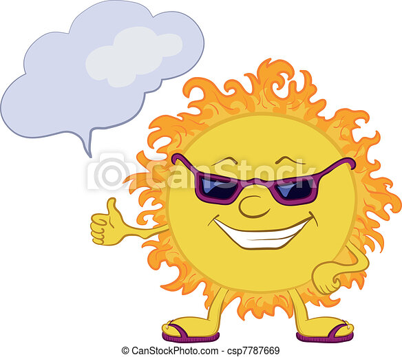 Sun smiley with glasses - csp7787669