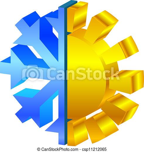 sun & snowflake icon - csp11212065