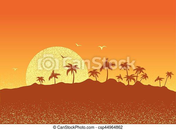 sun., sonnenuntergang, tropische , handflächen, insel, vektor, plakat - csp44964862