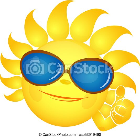 Sun with a smile in glasses - csp58919490