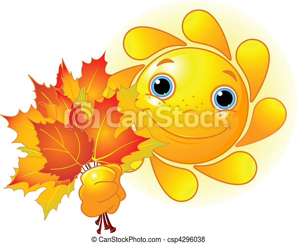 Sun with autumn leaves - csp4296038