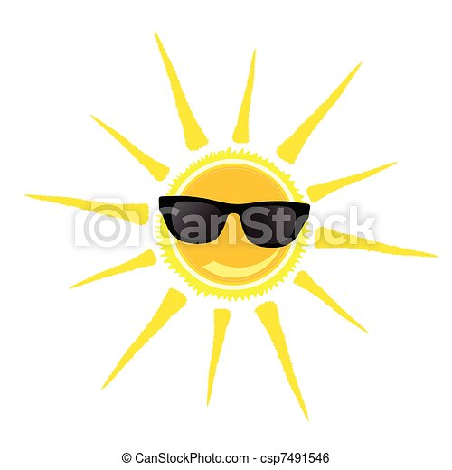 sun with black glasses illustration - csp7491546