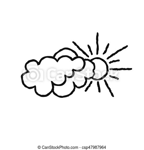 sun with clouds icon doodle line art weather sign clip art rh canstockphoto com doodle clipart border doodle clipart black and white