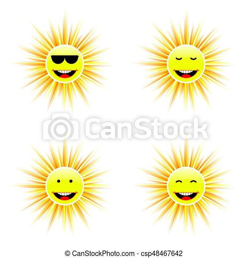 sun with different face smile illustration - csp48467642