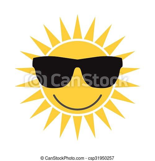 Sun with glasses icon - csp31950257