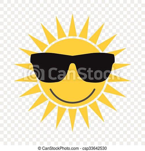 Sun with glasses icon - csp33642530