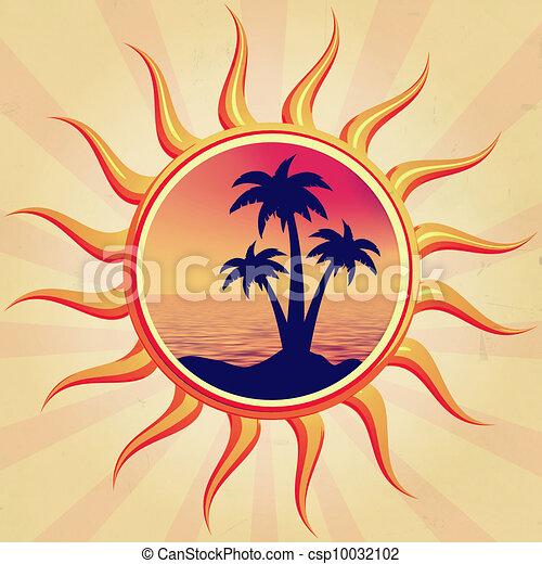 sun with palms - csp10032102
