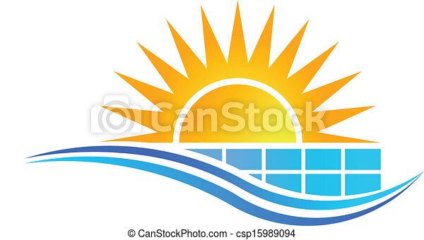 Sun with Solar Panel Logo Vector - csp15989094