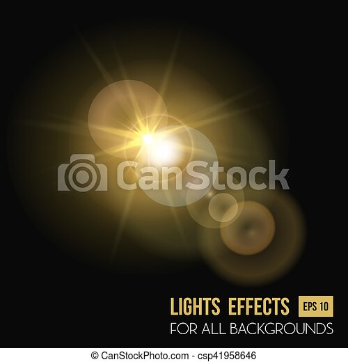 Sunbeam Shining Through Lens Sun Light Effect Vector