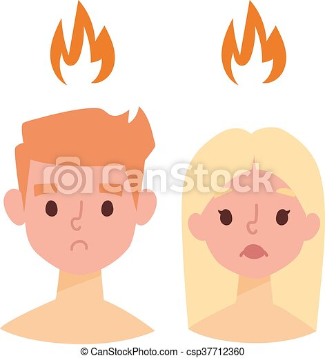 sunburn vector illustration sunburn on boy and girl face and vector rh canstockphoto com Burn Clip Art Sun Clip Art