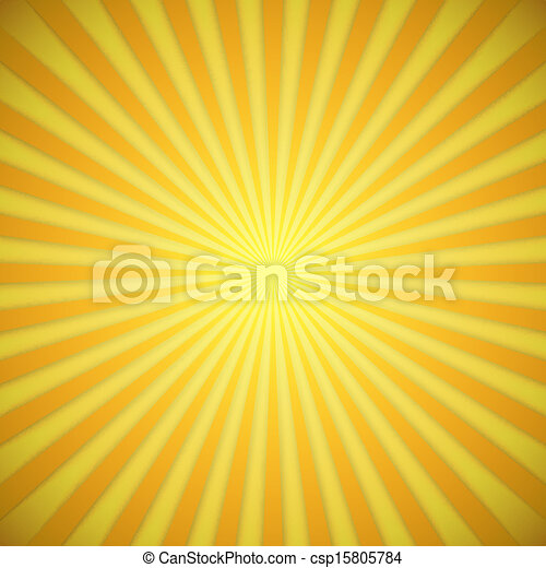Sunburst bright yellow and orange vector background with shadow effect. - csp15805784