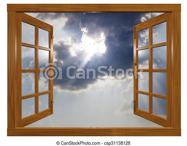 Sunburst Cloudscape through Open Wood Window - csp31138128  sc 1 st  Can Stock Photo & Sunburst cloudscape through open wood window. A 3d illustration of a ...
