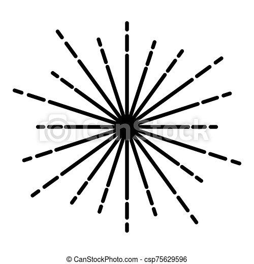 Sunburst Fireworks rays Radial ray Beam lines Sparkle Glaze Flare Starburst concentric radiance lines icon black color vector illustration flat style image - csp75629596