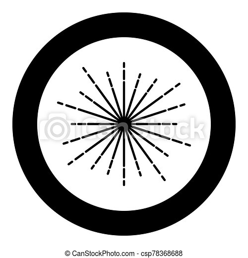 Sunburst Fireworks rays Radial ray Beam lines Sparkle Glaze Flare Starburst concentric radiance lines icon in circle round black color vector illustration flat style image - csp78368688