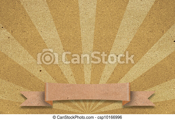 Sunburst retro texture on old paper with ribbon. A vintage poster. Useful as background.  - csp10166996
