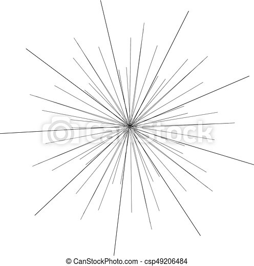 Sunburst, starburst shape black on white. Design element. Radiating radial merging lines, stripes or fireworks. Abstract circular geometric pattern. Vector illustration - csp49206484