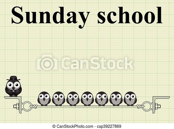 sunday school with vicar on graph paper background with copy space