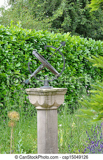 Sundial In Garden   Csp15049126