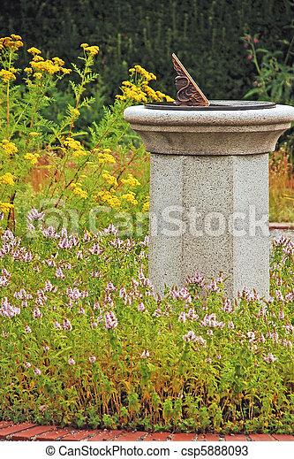 Sundial In Garden   Csp5888093
