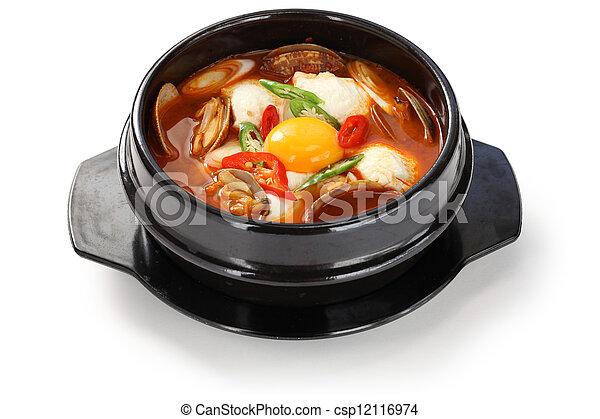 sundubu jjigae, korean cuisine - csp12116974