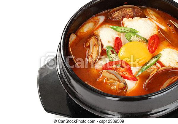 sundubu jjigae, korean soft tofu st - csp12389509