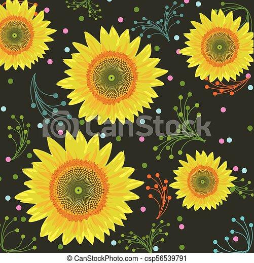 Sunflower background, seamless pattern - Vector illustration - csp56539791
