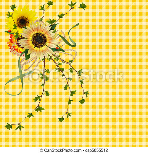 Sunflower Bouquet With Lady Bugs On Gingham Background Clip Art