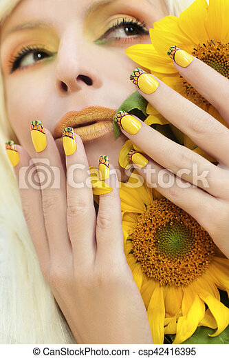 Sunflower Nail Design Yellow Makeup And A French Manicure With The