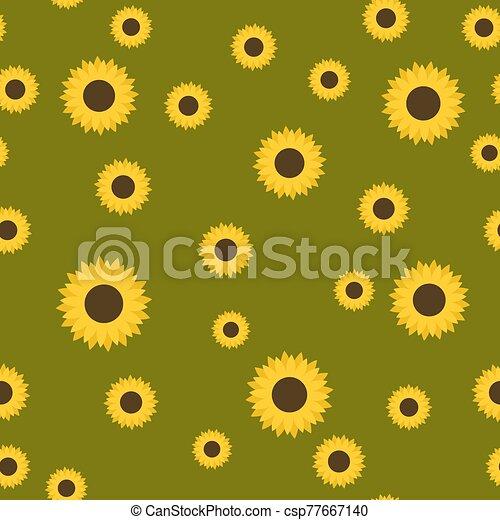 Sunflower seamless pattern vector illustration - csp77667140