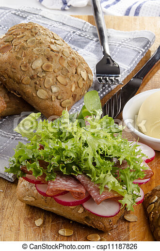 sunflower seed roll with salami - csp11187826