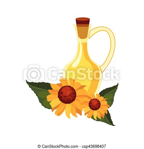 Sunflower Seeds Oil Glass Bottle and Sunflowers, Farm And Farming Related Illustration In Bright Cartoon Style - csp43698407