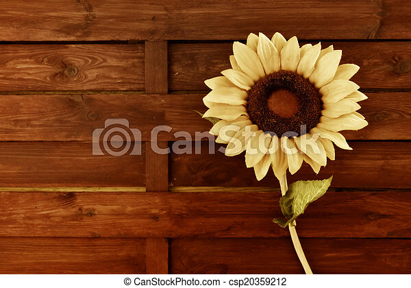 Sunflower Wooden Background On Old Style Wall With