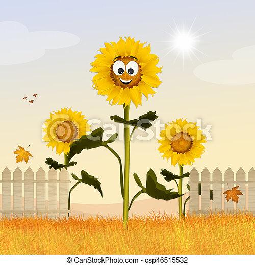 Illustration Of Sunflowers Field Cartoon