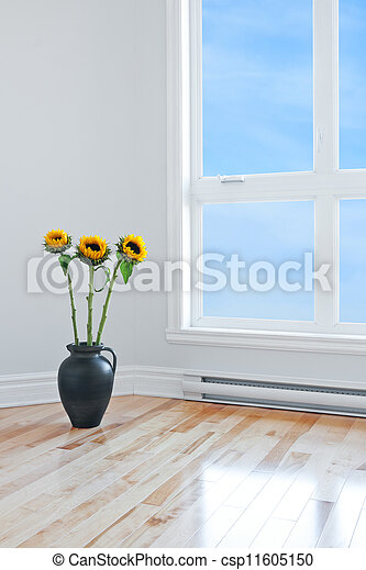 Sunflowers In Empty Room With Big Window Sunflowers In A Vase