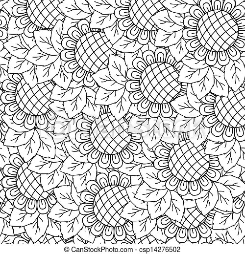 Sunflowers Seamless Background Black And White
