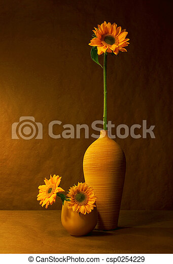Sunflowers Still Life With In Warm Light
