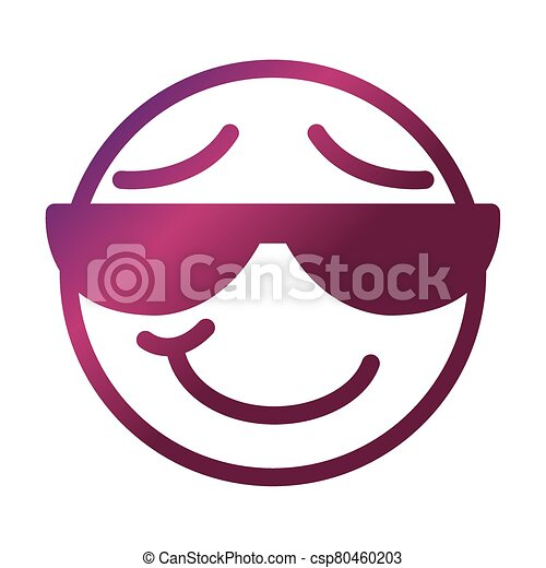 sunglasses funny smiley emoticon face expression gradient style icon - csp80460203