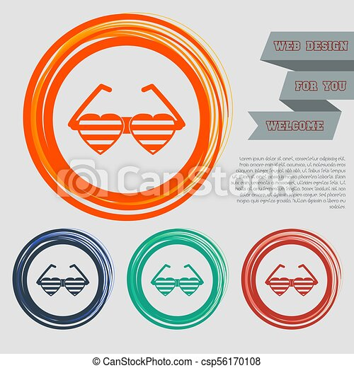 sunglasses in the form of heart icon on the red, blue, green, orange buttons for your website and design with space text. Vector - csp56170108