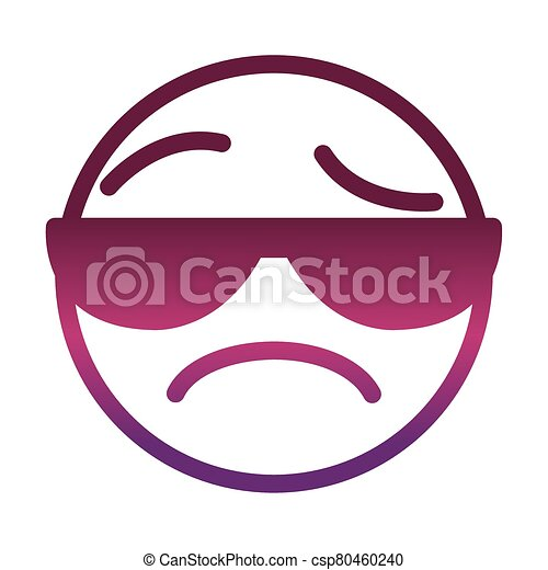 sunglasses sad funny smiley emoticon face expression gradient style icon - csp80460240