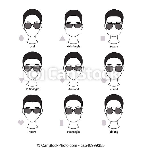 Sunglasses types. Set of silhouettes of various types of sunglasses ...