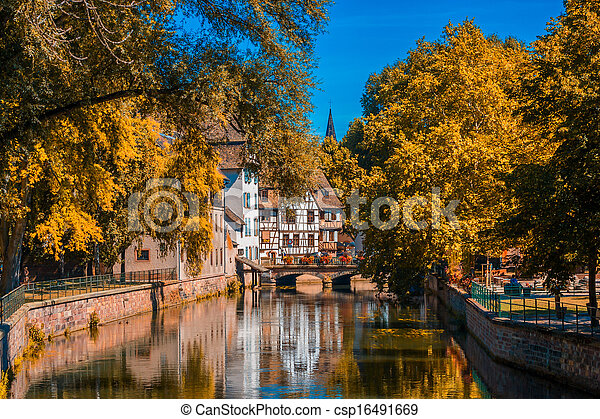 Sunny autumn day in Strasbourg France - csp16491669